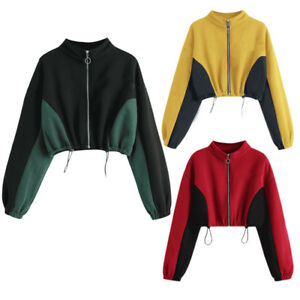 Fashion-Women-Crew-Neck-Sweatshirt-Zipper-Long-Sleeve-Crop-Tops-Jumper-Outwear