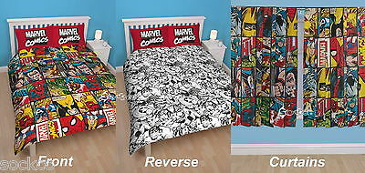 Marvel Comics Defenders Single / Double Duvet and Matching Curtains Set Avengers