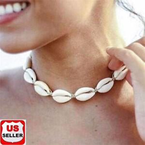 BOHO-Beach-Bohemian-Sea-Shell-Pendant-Chain-Choker-Necklace-Fashion-Jewelry-USA