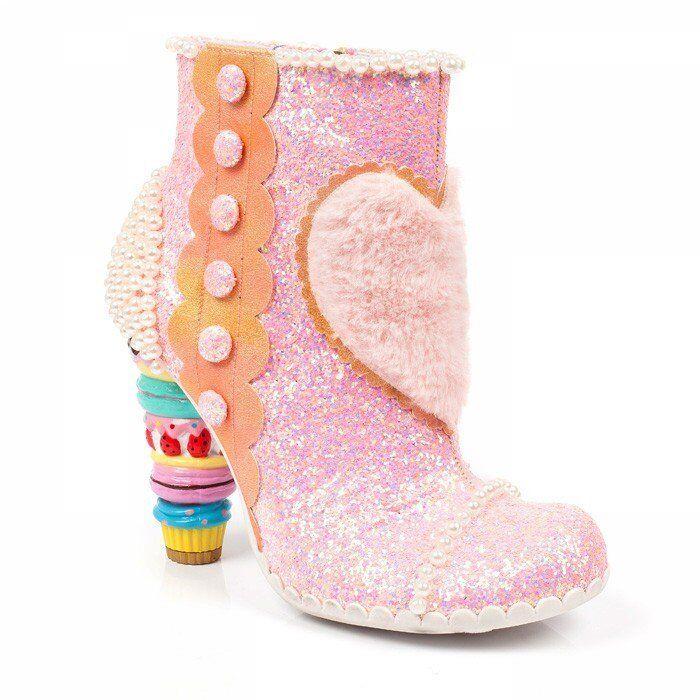 New Irregular Choice Bee Delicious Pink Glitter Boots 9 10 11 US, 40 41 42 EU