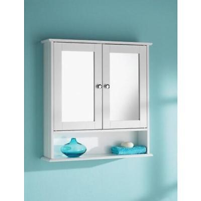 Bathroom Wall Mounted Cabinet Double Mirror Door Wooden Shelf Storage Unit White