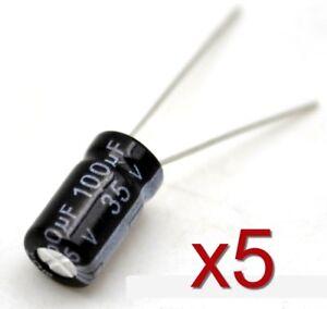 5x-Condensateur-electrolytique-35V-100uF-Aluminium-Radial-Electrolytic-Capacitor