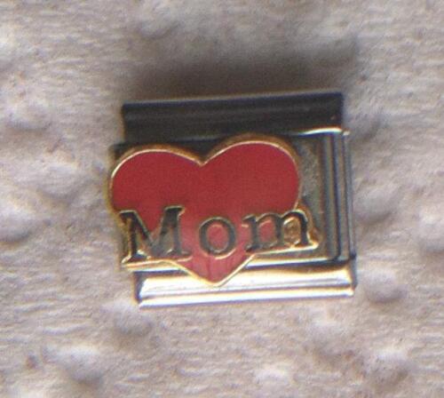 """/"""" MOM ON RED HEART/"""" HEART FULL OF LOVE ITALIAN 9MM CHARM-MOTHER,PARENT FAMILY"""