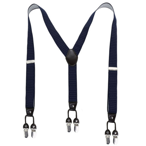 Mens Elastic Genuine Leather Suspenders Adjustable Braces Clip-On 35mm Width