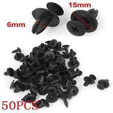 50Pcs Black 6mm Car Bumper Fender Hole Plastic Rivets Fasteners Clip For Toyota