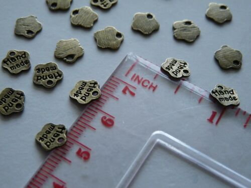 40pcs Word Charm Pendants for Jewelry with HANDMADE sign Bronze//Silver tone