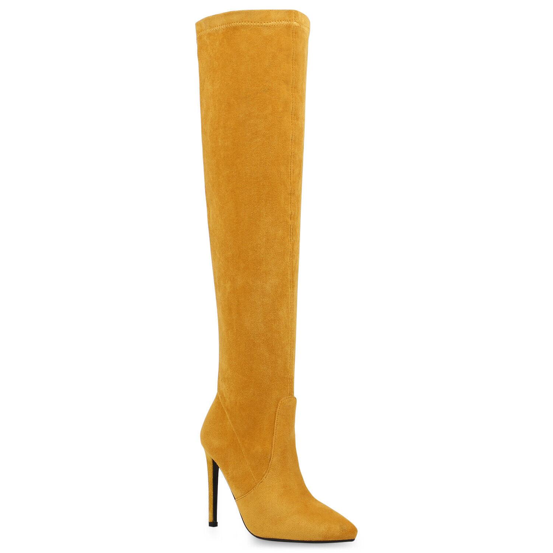 Damen Stiefel Overknees Stiletto High Heels Boots Absatzschuhe 832627 Schuhe