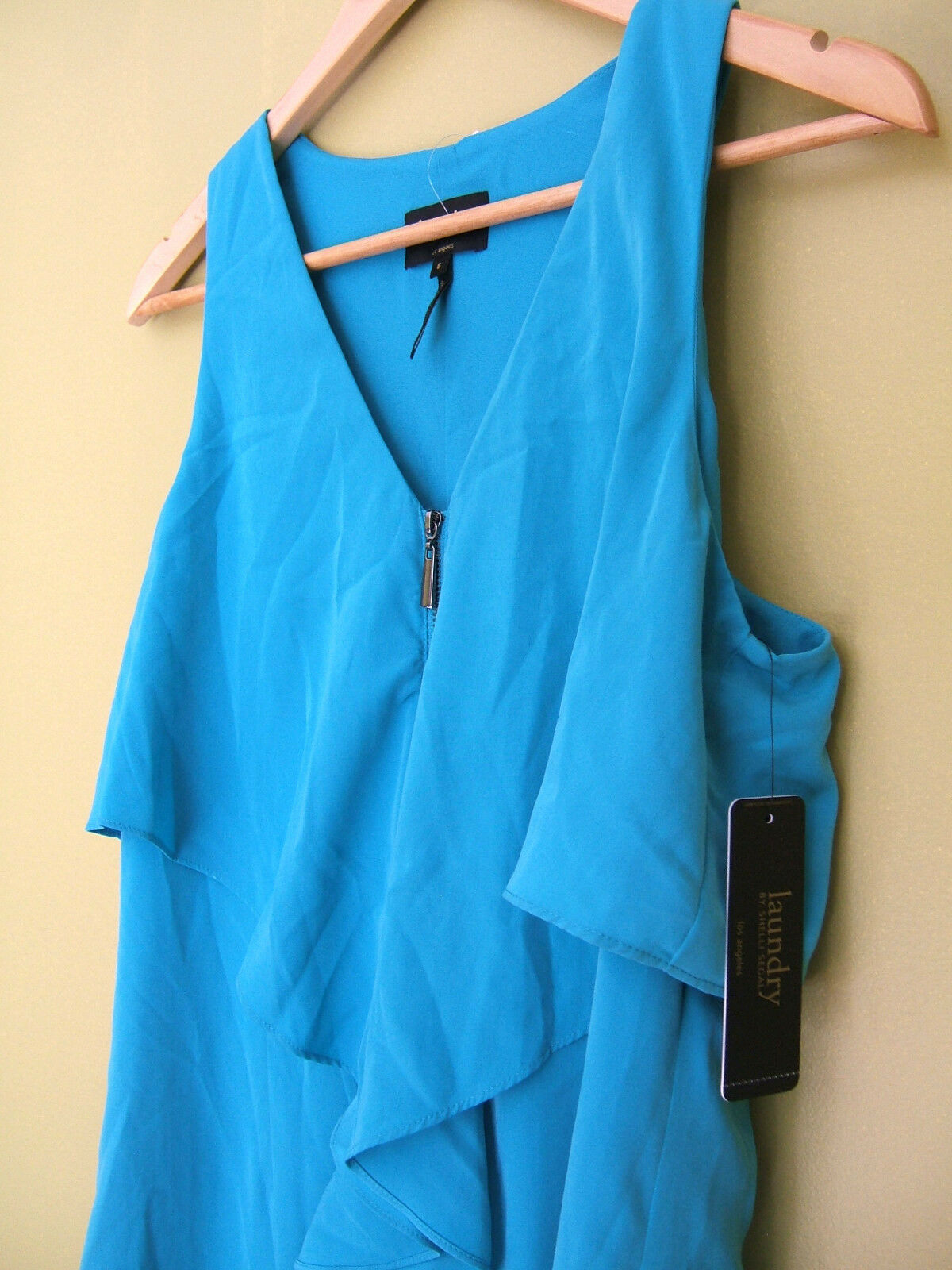 NWT Laundry by Shelli Segal Los Angeles Blau Silky Front Zip Bliss Dress 6