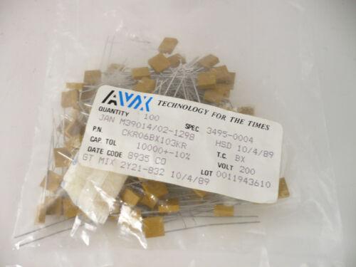 LOT OF 100 NEW .01 200V CERAMIC CAP AVX M39014//02-1298 CAPACITORS CKR06BX103KR