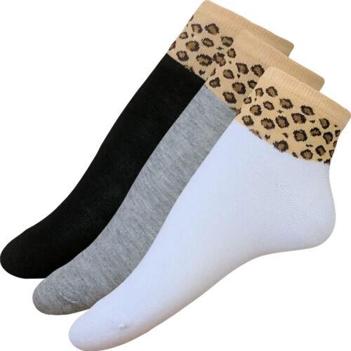 12x Damen Sneaker Socken Kurzschaft Feinstrick extra dünn 36-40 LEO Muster