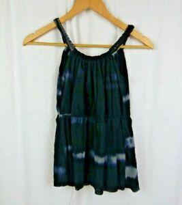 Sweet-Pea-by-Stacy-Frati-Tie-Dye-Sleeveless-Shirt-Tank-Top-Black-Gray-Sz-Small