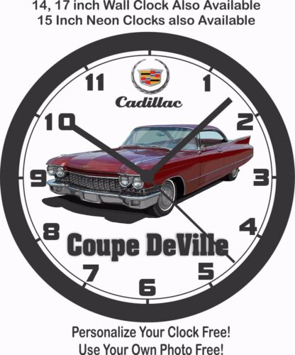 1960 CADILLAC COUPE DeVILLE WALL CLOCK-FREE USA SHIP LINCOLN CHEVROLET