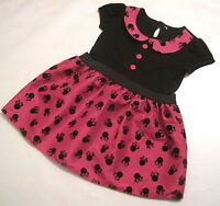 New Girls minnie mouse black pink  party dress age 9-12 18-24 2-3 3-4 4-5 5-6