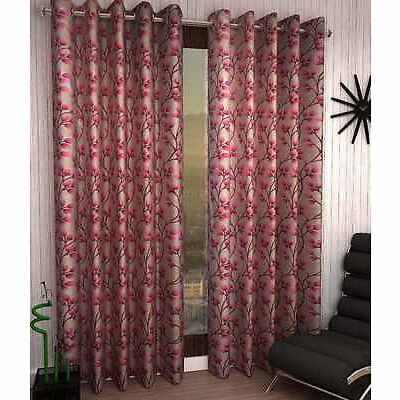 Homefab India Set of 2 Plain Grapes Wine Curtains (HF307)