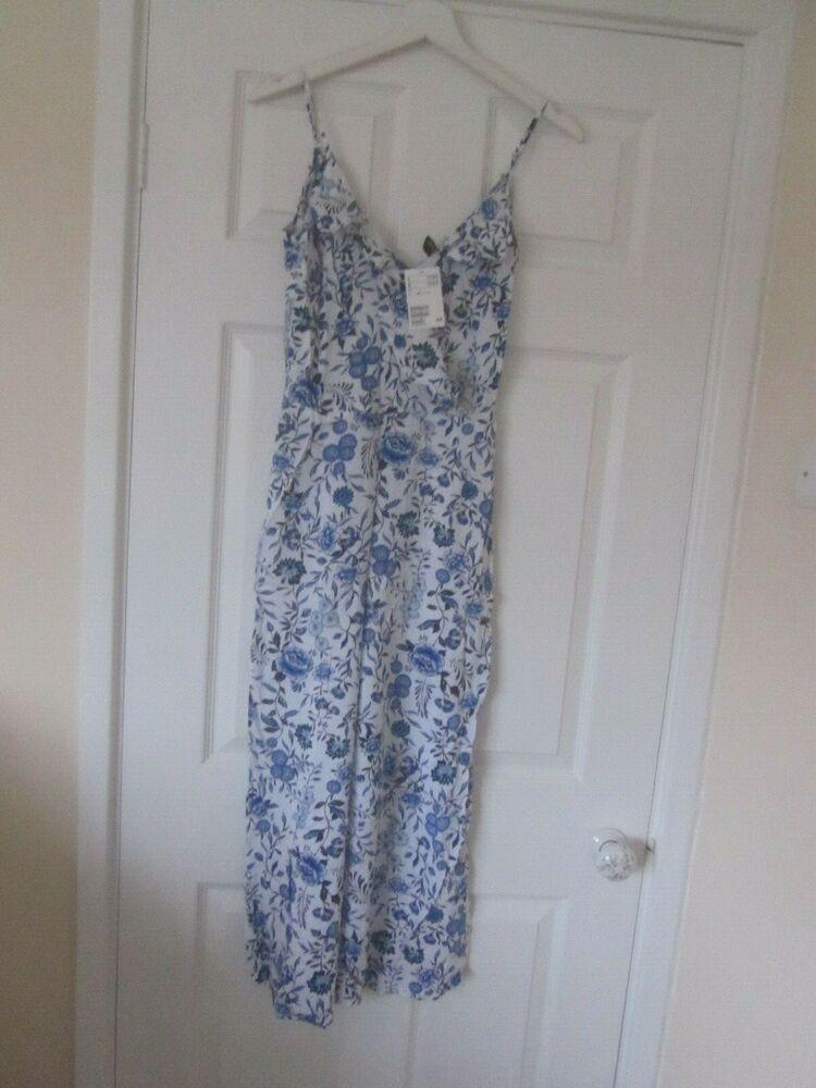 Bnwt H&m Bleu & Blanc Floral Longueur Cheville Jupe Culotte Combinaison Taille 8 £ 17.99