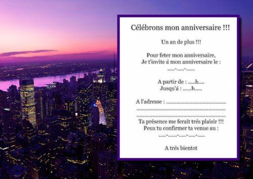 5 ou 12 cartes invitation anniversaire REF 1027