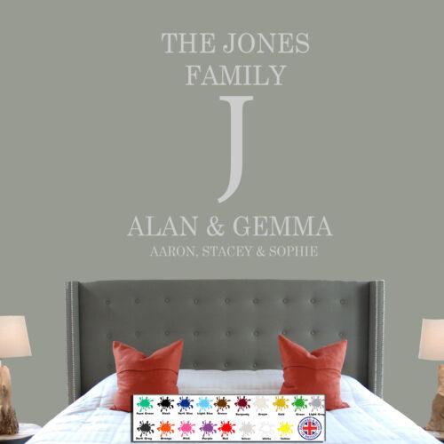 Personnalisé famille nom wall art citation cuisine chambre à coucher lounge autocollant decal