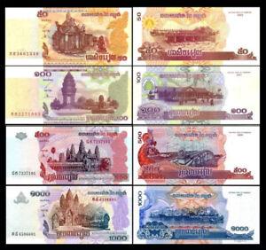 CAMBODIA-CAMBOYA-SET-4-Pcs-50-100-500-1000-Riels-2001-2007-NEW-UNC