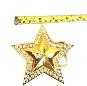 BELT-BUCKLE-STAR-COWBOY-GOLD-STONE-MEN-WOMEN-WESTERN-HIGH-QUALITY