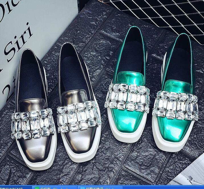Rhinestones Pumps Square Toe Flat Slip On Casual Loafers Women's shoes Ths01