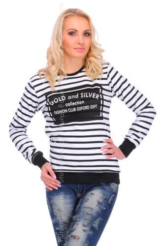 Womens Cotton Striped Pullover Fashion Print Blouse Sweatshirt Sizes 8-14 FZ29
