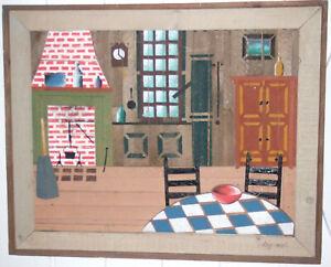 Agressif Encadrée Latte Art Signé Theodore Degroot-home Interior Cottage-afficher Le Titre D'origine MatéRiaux De Qualité SupéRieure
