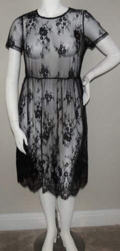 Black New! Plus 1XL /& 2XL Oh Yes Sheer Lace Short Sleeve Midi Dress