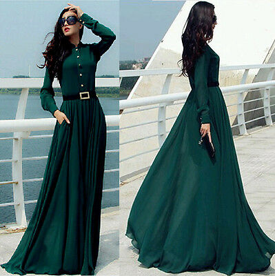 Womens Long Sleeve chiffon BOHO BEACH Cocktail Evening Prom Maxi  Clubwear dress