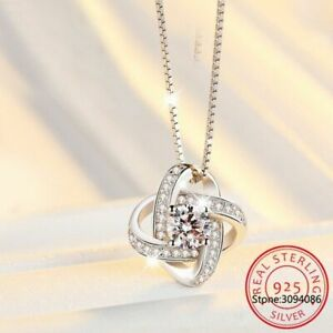 Echt-925-Sterling-Silber-Halskette-Kristall-Clover-Anhaenger-Damen-Schmuck-NEU
