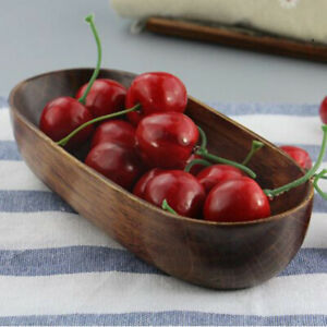 Boat-Shape-Wooden-Towel-Tray-Small-Salad-Snack-Bowls-Fruit-Dishes-Holder-Plate-W