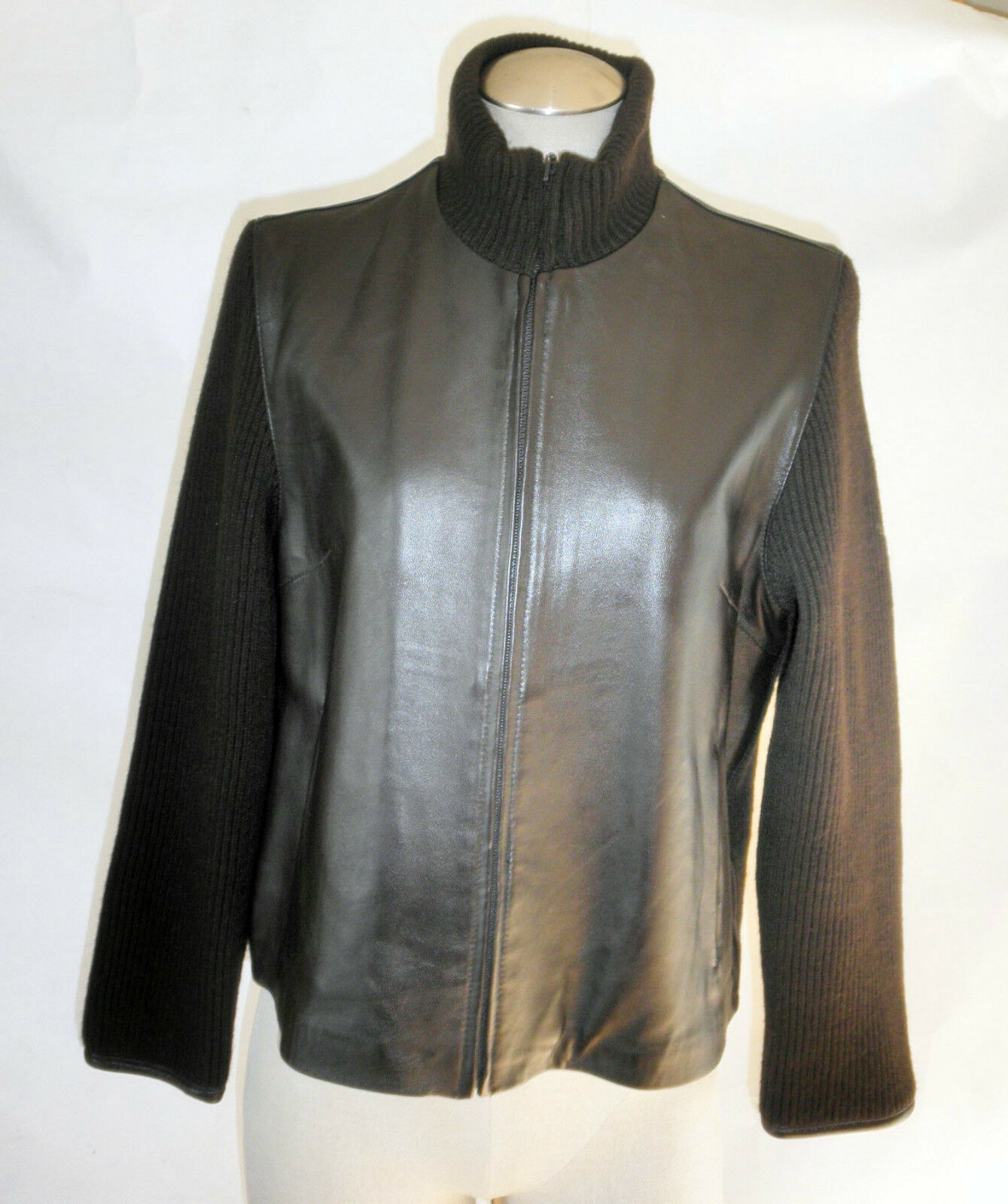 Brown Knit Sweater & Leather Front With Front Zipper SZ M by Marvin Richards