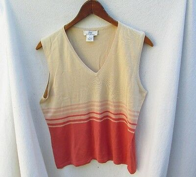 BROOKS BROTHERS 346 Women's Sleeveless V Neck Shirt Top Silk Knit L