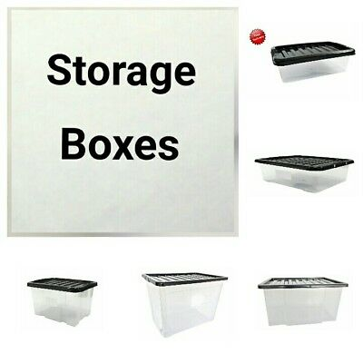 33cm Clear Plastic Maxi Storage Box With Lid Home Office Stackable Tub Container