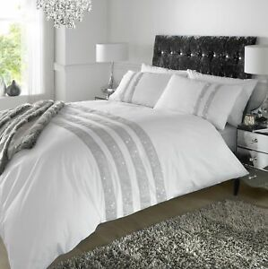 Duvet Cover Diamante Crystal White Detail Quilt Bedding Set Percale Fabric