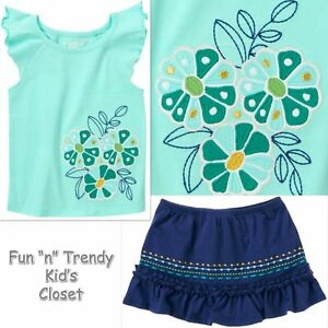 NWT Crazy 8 ELEPHANT ISLAND Girls Size 4T Skirt Skort & Shirt Top 2-PC OUTFIT