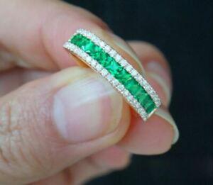 2Ct-Princess-Cut-Green-Emerald-Half-Eternity-Wedding-Band-18K-Yellow-Gold-Finish