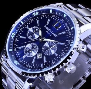 Excellanc-Herren-Armband-Uhr-Blau-Datumsanzeige-Datum-Edelstahl-SI-4