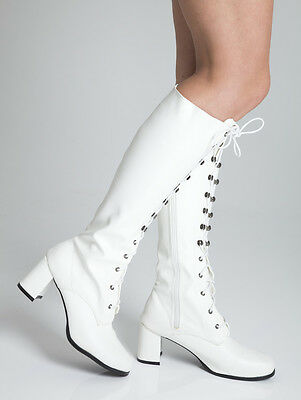 White Knee High Eyelet Boots - 60s 70s Fashion Boots - White Matt or Patent