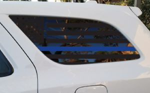 DD9 Dodge Durango USA Flag Decals in Matte Black for side windows fits 3rd Generation 2011-2018