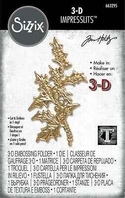 SIZZIX 663295 THOLTZ 3D IMPRESSLITS EMBOSS FOLDER HOLLY