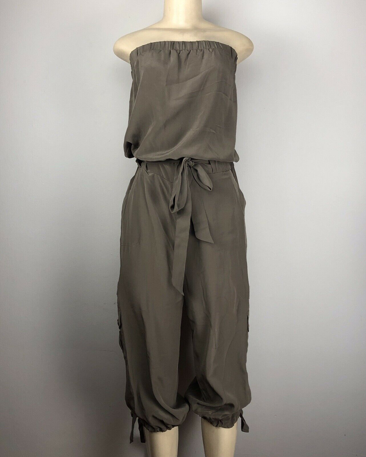 INC INTERNATIONAL CONCEPTS BRAND FOGGY TAUPE 100% SILK JUMPSUIT SIZE 10 NWT