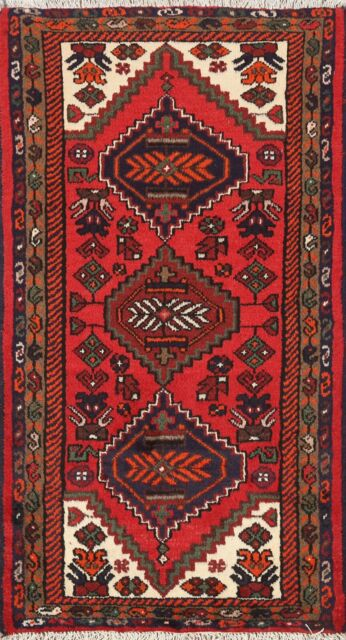 Traditional Tribal Geometric Hand-knotted Oriental Area Rug Wool Carpet 2x4 RED