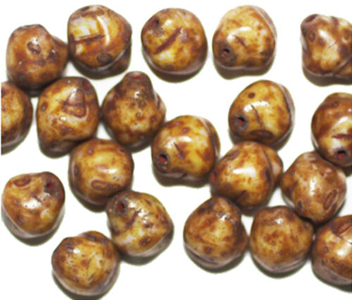 pack of 20 Brown Beige Picasso Bicone Czech Pressed Glass Beads 12mm