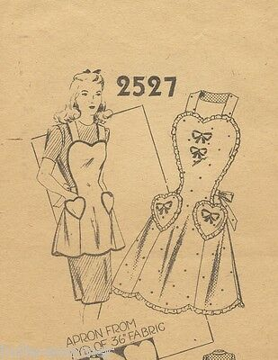 Vintage 1940's Full Size Sweet Heart Apron Fabric, Sewing Pattern # 2527 Copy