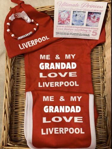 Liverpool Football Babygrow bodysuit bib hat FREE dummy clip set Red Soccer Team