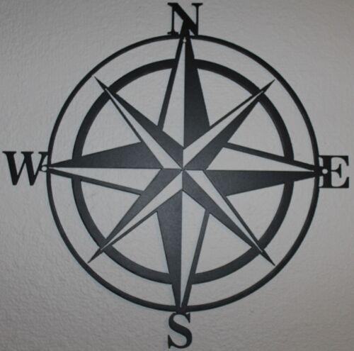 Compass Rose Metal Wall Art Home Decor Flat Black Finish