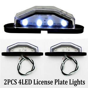 2x-4-LED-Rear-Tail-License-Number-Plate-Light-Lamp-Truck-Trailer-Super-Bright