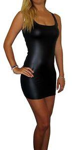 WOMENS-MINI-WET-LOOK-CLUBWEAR-DRESS-BLACK-UK-SIZE-8-10-12-14-16-18-20