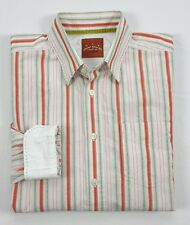Tommy Bahama Denim Mens Pink Orange Green Stripe Long Sleeve Button Shirt XL