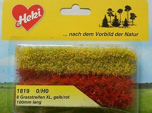 YELLOW-RED-GRASS-STRIPS-SCENERY-FOR-MODEL-RAIL-HO-N-SCALE-HEKI-1819-NEW
